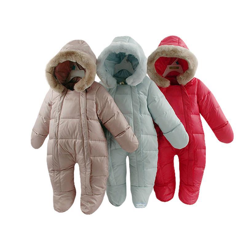 2018 La Russie bébé filles vêtements, hiver plume vêtements épaissir vers le bas bébé garçons vêtements nouveau-né vers le bas habits de neige infantil salopette
