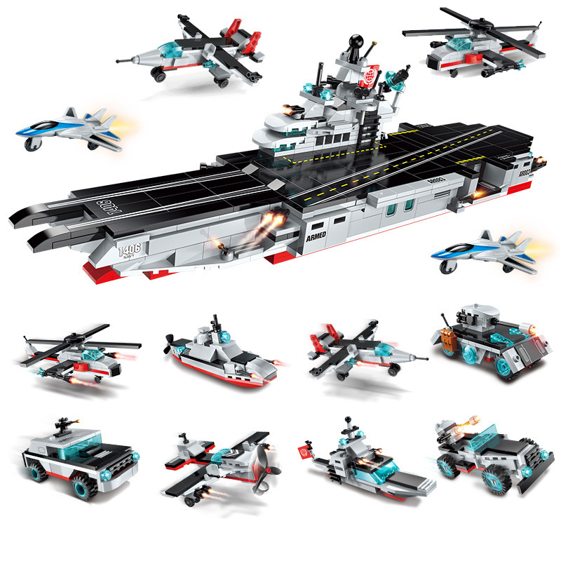 Éclairer 8 en 1 armée militaire modèle de navire de guerre assembler des blocs de construction destructeur transporteur briques enfants jouets cadeau