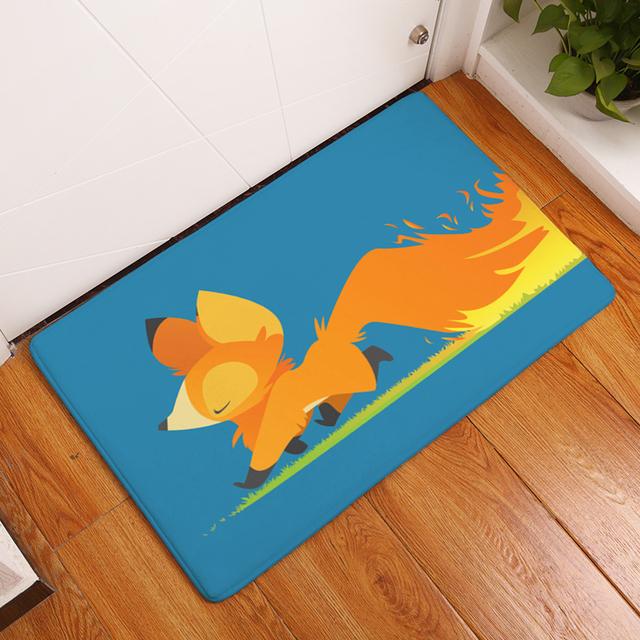 Cartoon Funny Dogs/Fox Coral Fleece Mat For Children Bedroom