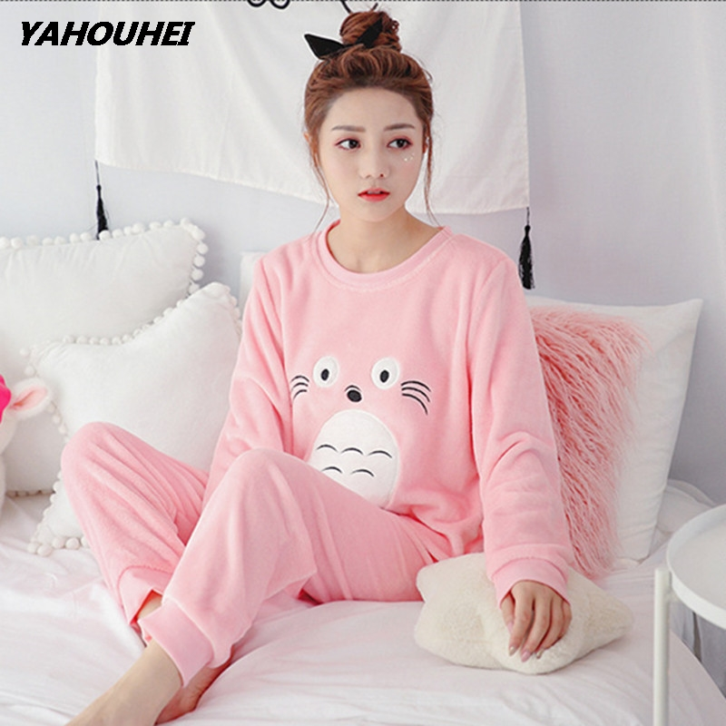 Winter Women Pyjamas   Sets   Polyester Full Trousers Lady Two Piece   Pajama     Set   Flannel Female Cartoon Bunny Print Home Clothing