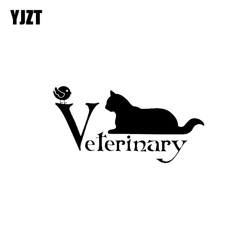 YJZT 14.3CM*7.4CM Veterinary Animal Decal Pet Decal Cat Vinyl Car Sticker Black Silver C10-02379