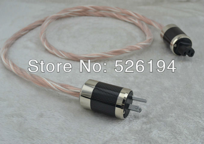 цена на Free shipping US version power cableSilver Plated+Telfon Copper with US version carbon fiber power plugs
