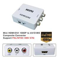 Новейшие Белый Mini HDMI вход цифро аналоговый RCA аудио/видео CVBS сигнала для ТВ VHS Видеомагнитофон DVD с HDMI конвертер HDMI2AV 1080 P