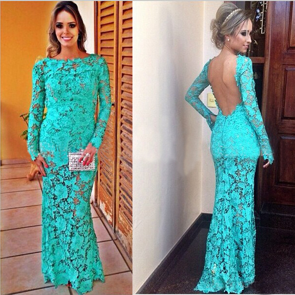 94e55e163333 2015 Turquoise Charming Lace Mermaid Long Evening Dress Scoop Long Sleeves  Backless Party Dresses Prom Dresses 2015 EH-98