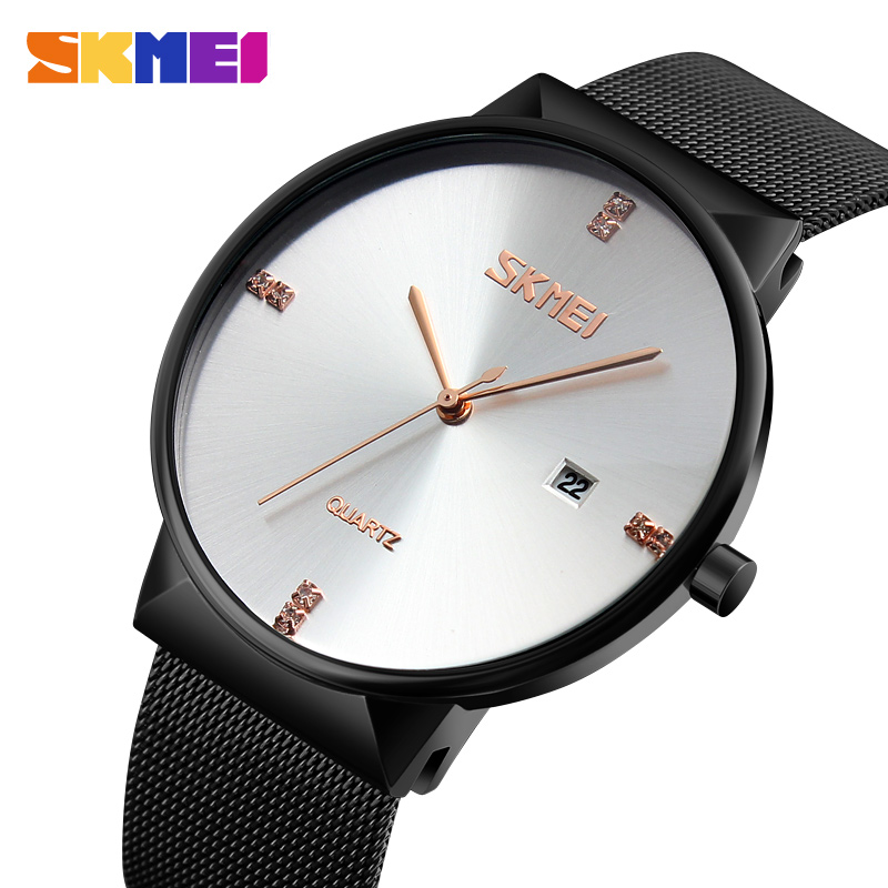 Top Brand Luxury Men's Quartz Watch SKMEI Ultra Thin Stainless Steel Mesh Band Wristwatch Fashion Male watches Relogio Masculino skmei new top luxury watch men brand men s watches ultra thin stainless steel mesh band quartz wristwatch fashion male watches
