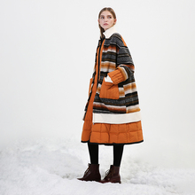 Original Design New Arrival Winter 2017 casual oversized winter coat long striped wool patchwork white duck down jacket women
