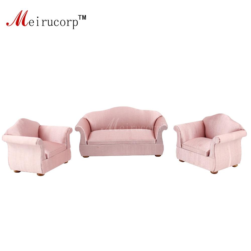 Dollhouse 1/12 échelle miniature meubles rose salon 2 chaises et canapé ensemble