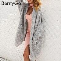BerryGo длинный женский кардиган повседневное свободные плюс размеры кардиган 2018 вязаный для женщин свитер дамы осень зима пальто джемпер
