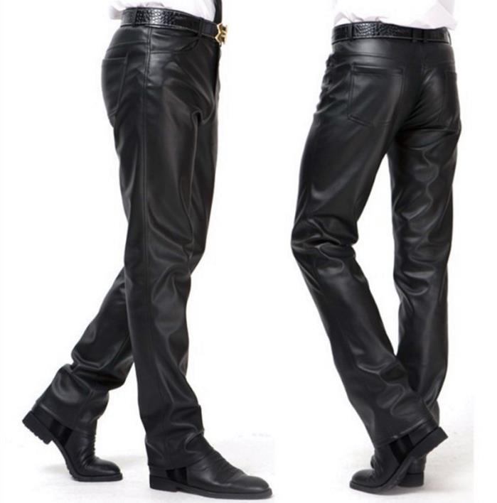 Winter motorcycle pu leather pants men feet trousers windproof thermal plus velvet faux leather skinny pants mens fashion black