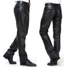 Winter motorcycle pu leather pants men feet trousers windproof thermal plus velvet faux skinny mens fashion black
