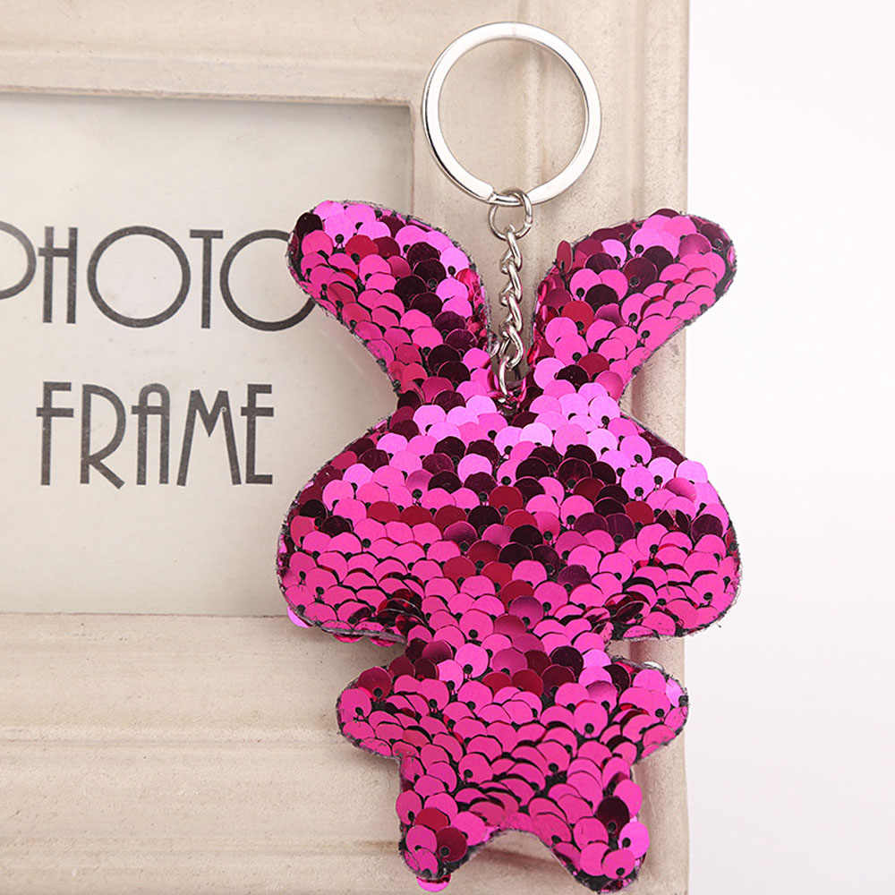 Bonito mini glitter lantejoulas coelho adorável menina crianças colorido brinquedo de pelúcia original doce pingente presentes