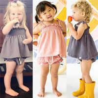 2019 Bebê Recém-nascido Crianças Sunsuit Menina Cobre + Shorts Outfits Roupas de Verão conjunto de roupas Crianças roupas de menina