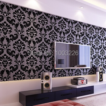 popular black damask wallpaper buy cheap black damask