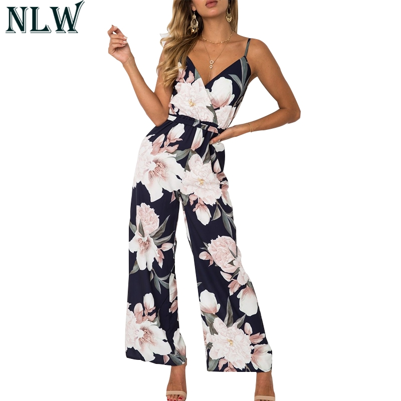 NLW Boho Floral Summer   Jumpsuit   V Neck Strap Sexy Long Romper Women Chiffon 2019 Beach Party Overalls Playsuit overalls