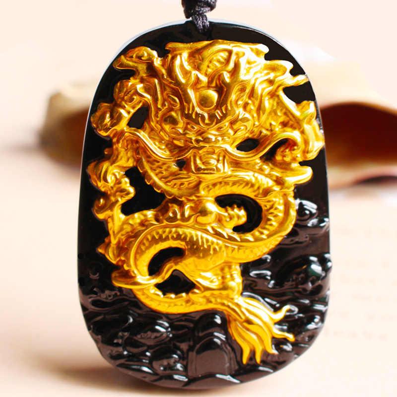 Đồ trang sức tự nhiên black stone Rồng Mặt Dây Chuyền Benming năm guard Hoàng Đạo Rắn rồng vòng cổ