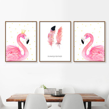 Modern Flamingo Animal Poster A4 Canvas Big Triptych Wall Art Picture Nordic Wall Art Print Posters Home Decor Painting No Frame