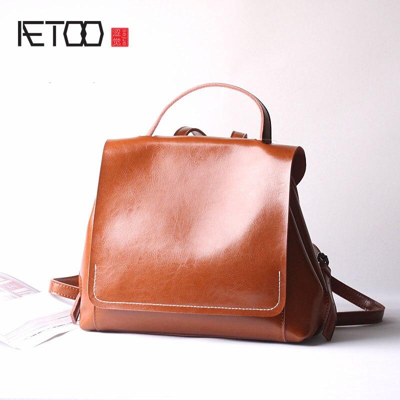 где купить AETOO Leather  casual simple shoulder bag ladies oil wax cowhide backpack travel college wind по лучшей цене