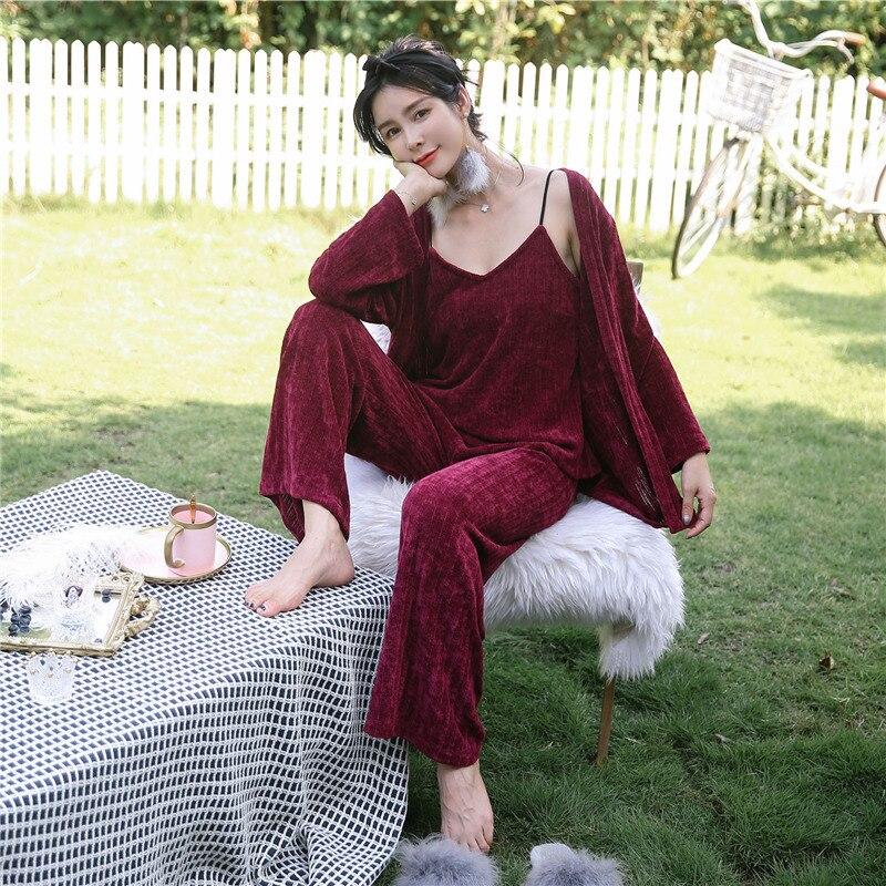 3 piece Sexy Tops + Long Pants Printed   Pajamas     Set   Bathrobe Satin Nightwear Sleepwear kimono Robe Flannel Homewear women   set
