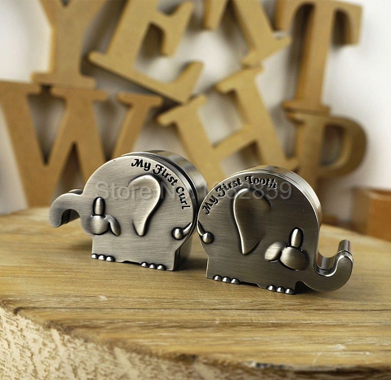 1pair Dental Teeth Crafts Gift Cute Elephant Silver Alloy Box Baby Milk Teeth Baby Essentials First Tooth and First Curl Boxes tooth fairy box baby tooth box baby baby keepsake baby shower gift personalized keepsake umbilical cord