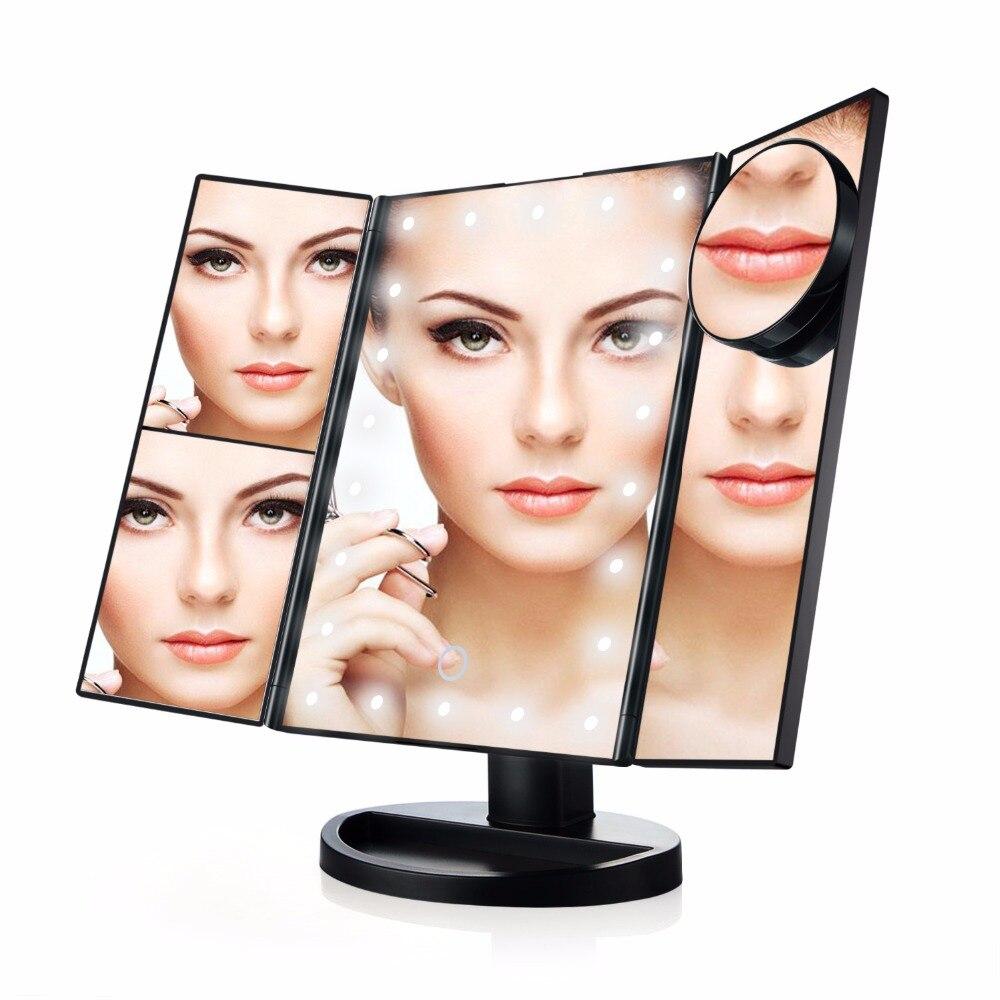 21 LED 10X Three Folding Table LED Lamp Luminous Makeup Mirror Cosmetic Mirror Adjustable Tabletop Countertop Light Mirror led adorable pet makeup mirror table