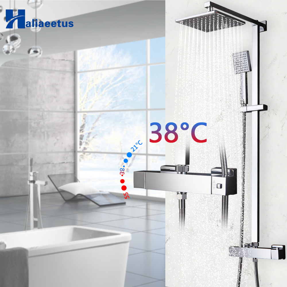 bathroom Thermostatic mixer square head shower and hand shower Wall mounted shower set Chrome Bathroom Shower Setbathroom Thermostatic mixer square head shower and hand shower Wall mounted shower set Chrome Bathroom Shower Set