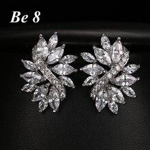 Be8 фирменные серьги гвоздики в форме цветка с фианитом класса