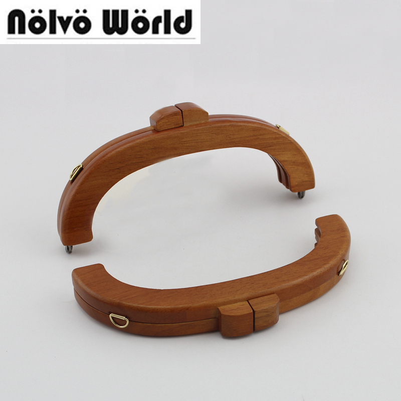 5 pieces 20cm 8 Inch Camel Color Wood Kiss Clasp Frame for women knit purse sewing