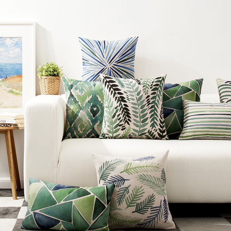 Decorative throw pillows case cover Green watercolor Nordic Style Simple color Leaf Cotton Linen Cushion Cover For Sofa Home