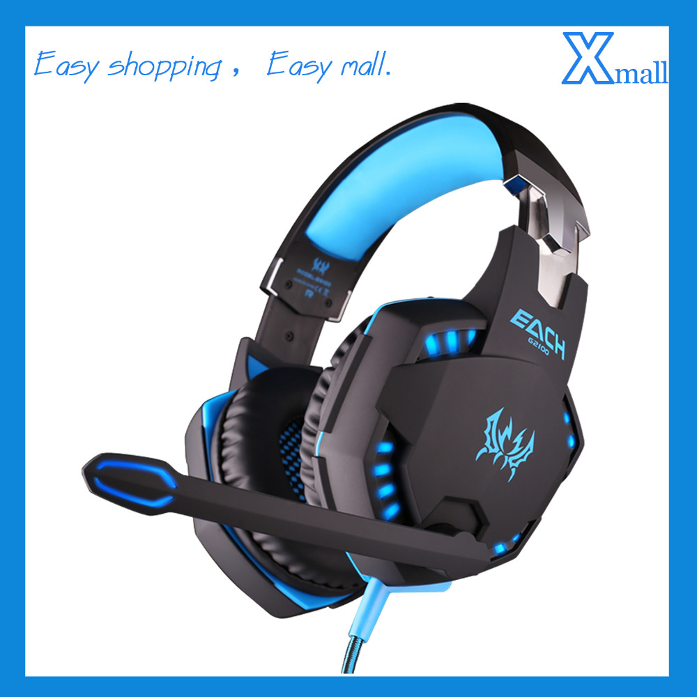 EACH G2100 Professional Gaming Headphone Game Headset with Mic Vibration Stereo Bass LED Light for PC Game each g3100 vibration function pro gaming headphone games headset with mic stereo bass led light for pc gamer blue