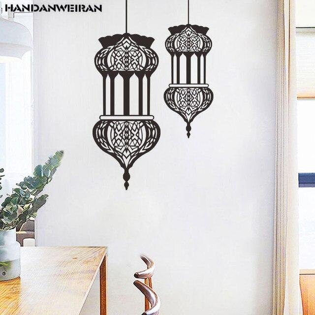 Conjunto de 2 unidades de papel tapiz con farol de Ramadán musulmán, pegatinas de pared con elementos de Festival, decoración del hogar de 60x30cm * 2 HANDANWEIRAN