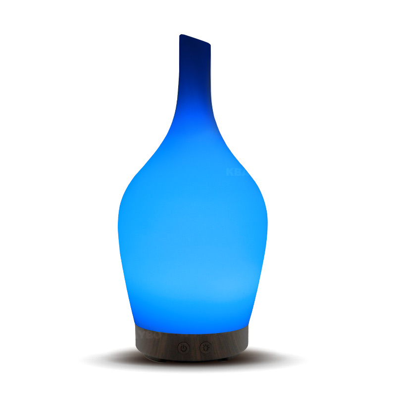 100ML Glass Cover Vase Shaped Air Humidifier Ultra Quiet Design Aroma Essential Oil Diffuser With 7 Colors Changing LED Light