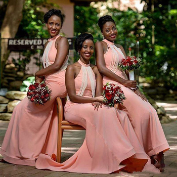 2019 Halter Bridesmaid Dresses For Wedding Chiffon Mermaid Long Maid Of Honor Gowns Sweep Train Cheap Bridesmaid Dress