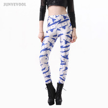 Fitness Women Leggings Stars Stripe Print Pants Women's Blue White Slim Trousers 3D Tattoo Breathable Workout Soft Capris Plus