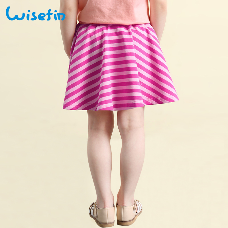 Wisefin Summer Girl Short Skirt Black Stripe Cute Bow A line Baby Clothing Casual Cotton Toddler 2018 New Tutu Short Skirts