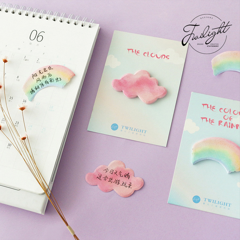 Rainbow Clouds Paste Memo Pad Planner Sticky Note Paper Sticker Kawaii Stationery Pepalaria Office School Supplies 30 Pages