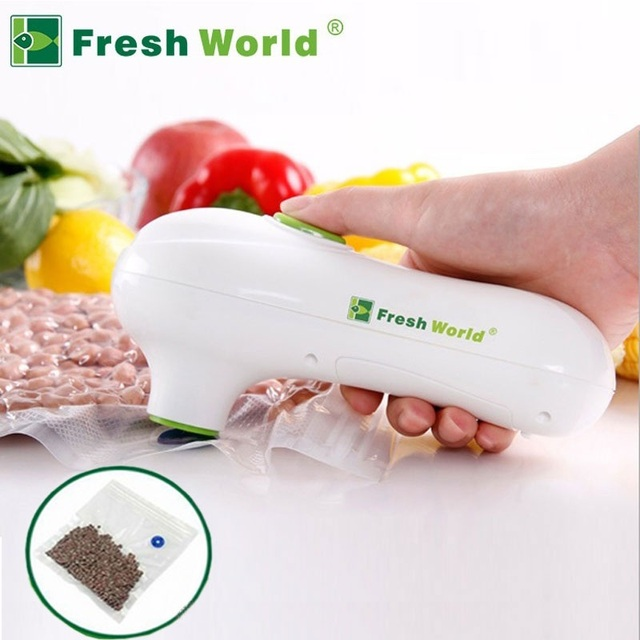 Handheld Vacuum Sealer Machine One-button Mini Portable Vacuum Pump Including 5 pcs Reusable Silicone Bags Sous Vide 2019
