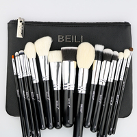 BEILI 15 Pieces Black Premium Goat Hair Big Powder Foundation Blusher Eye Shadow Contour Makeup Brush