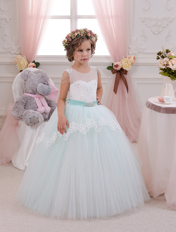 Mint green ball gown tulle flower girl dress keyhole back with bow sash crystals beads rhinestones first communion birthday gown pleated panel keyhole back dress