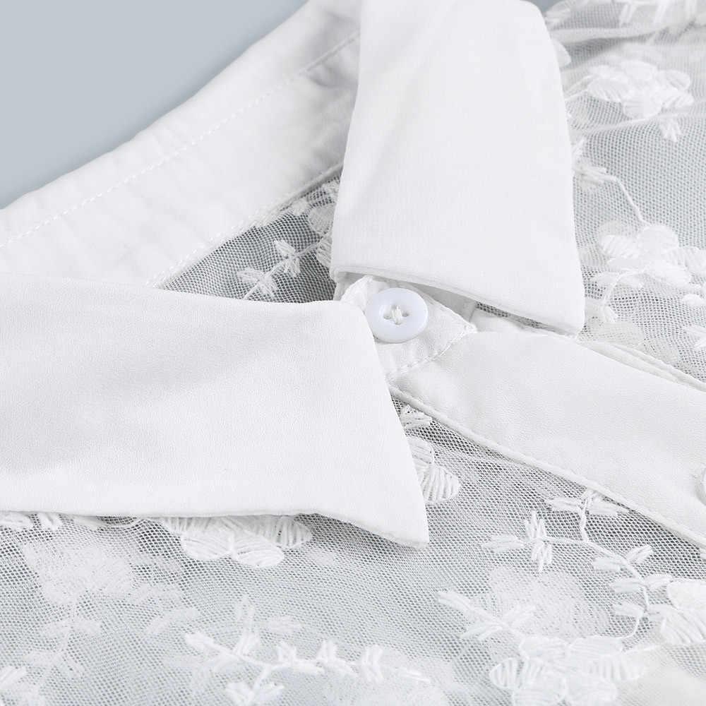 المرأة الرباط التطريز كم طويل الشيفون الأبيض قميص إمرأة قمم و البلوزات خياطة زر الشيفون قميص قميص فام #2S