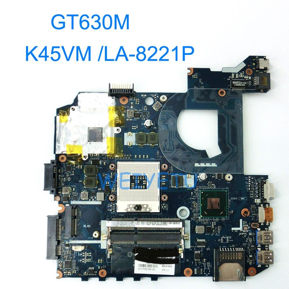 K45VM QCL40 LA-8221P GT630M 2G Motherboard For ASUS A45V A45VD K45VD K45VM K45VJ K45VS Laptop Mainboard 100% Fully Tested