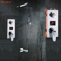 Bathroom Shower Set 3 Functions Thermostatic LED Digital Display Shower Mixer Concealed Shower Faucet 10 Rainfall