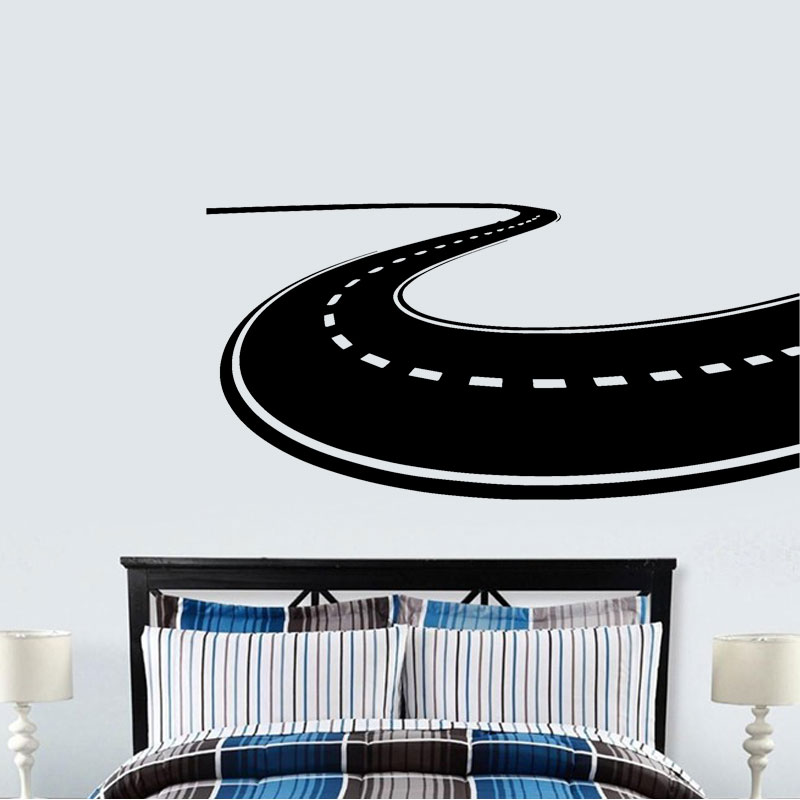 Road Highway Wall Decal Vinyl Interior Design Home Decor Bedroom Decals Removable Mural Roadway Custom Stickers A129 in Wall Stickers from Home Garden