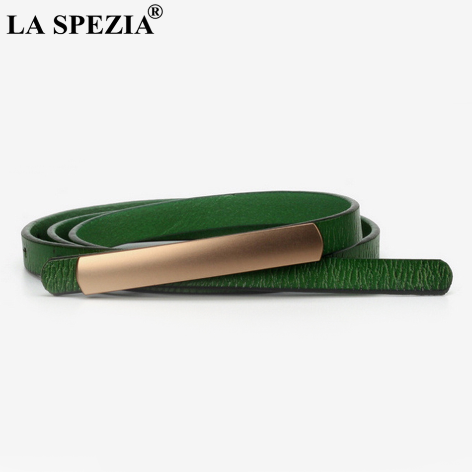 LA SPEZIA Women Waist Belt Thin Smooth Buckle Leather Belt Female Solid Red Leather Cowhide Narrow Fashion Brand Belts Dresses in Women 39 s Belts from Apparel Accessories