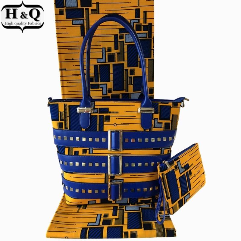 H & Q Heißer verkauf 3 teile/los dutch wachs taschen, hohe qualität frau handtasche passenden 6 yards supe weiches wachs hollandais und baumwolle stoff