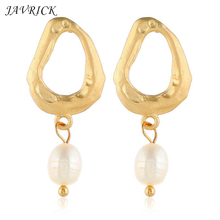 Women Irregular Personality Earrings Fashion Metal Geometric Earring Temperament Imitation Pearl Stud Ear Jewelry