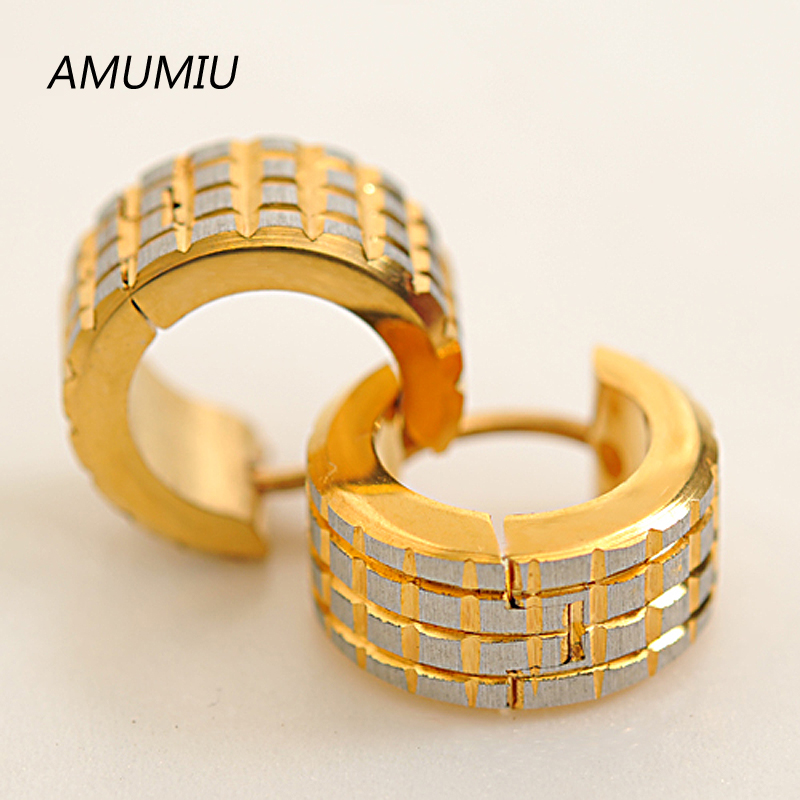 Fashion Gold Men Earrings for women or ear cuff Punk, Stainless Steel Earrings Unisex pendientes brincos jewelry HE008