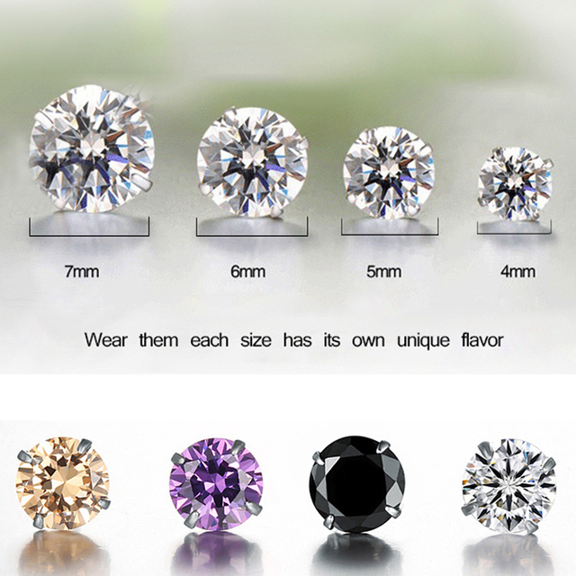 Pure S925 Silver Earrings Wedding Cz Diamond Round Stud Earring Crystal For Women And Men 2017