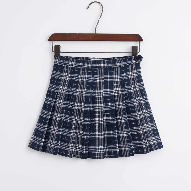 Harajuku Skirts Womens 2019 Korean Summer Style New Plaid Pleated Skirt Rock Kawaii High Waist Fashion Femela Pleates Skirts