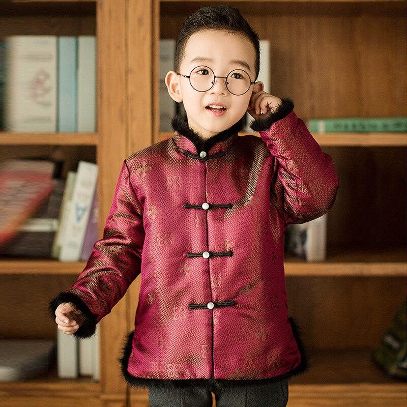 Tang Cheongsam C à manches longues lâche manteau bleu nouvel an Costumes pour enfants garçon chinois Qipao enfants Style chinois manteau d'hiver