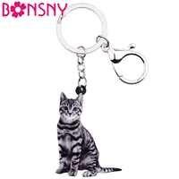 Bonsny acrylique américain Shorthair chaton chat porte-clés anneaux bijoux pour femmes filles sac à main voiture charmes cadeau en vrac animaux de compagnie